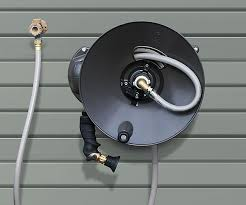 hose reel mounted parallel to the wall