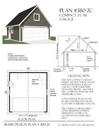 two car garage plan has minimum dimensions and standard 16 wide garage door roof is framed with rafters and ceiling joists creating big attic e for