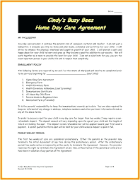 Daycare Contract Template Daycare Contract Templates Free Home Template Child Care Family