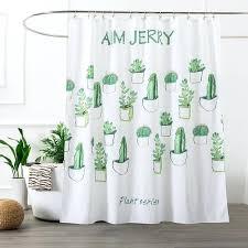 cactus white washable mildew resistant fabric shower curtain liner white bathroom curtains cactus white washable mildew