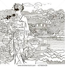 Small Picture Coloring Pages Japan Stock Vector 478362490 Shutterstock