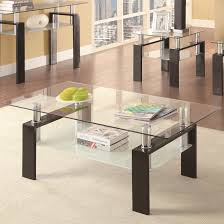 ... Furniture, Black And Clear Rectangle Modern Glass Top Coaster Coffee  Table And End Table Sets ...
