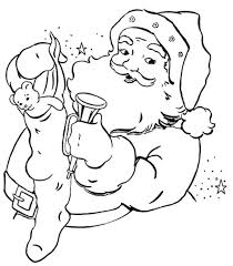 Small Picture Coloring Pages Of Santa Claus And Puppys Present Christmas