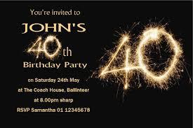 40th Birthday Invitations Personalised 40th Birthday Invitation
