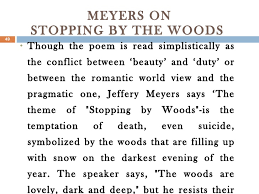 american poetry an introduction 49 meyers on stopping by the woods
