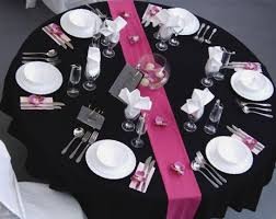 black and pink reception table