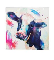 watercolor cow painting print on canvas