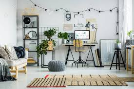 grey home office. Designed Carpet And Grey Pouf On Glossy White Floor. Home Office Design Concept Stock Photo R