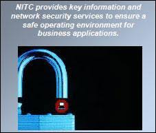 an image of a open padlock with the open end above a small image of a network security officer