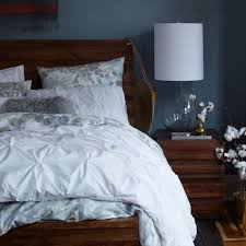 organic cotton pintuck duvet cover shams white west elm with regard to and blue decorations 8