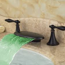 pringle deck mounted dual handle oil rubbed bronze waterfall led bathroom sink faucet with hot