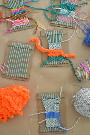 children make small weavings with homemade cardboard looms perfect for ages 5 and up