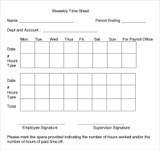 Biweekly Payroll Timesheet Template 20 Bi Weekly Timesheet Templates Free Sample Example
