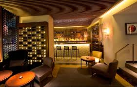 Creative Wooden Rail Plafond as Classic Ceiling Designs Over Midcentury Home  Bar Furnishing and Romantic Lighting