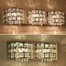 modern crystal mirror vanity wall fixture lighting
