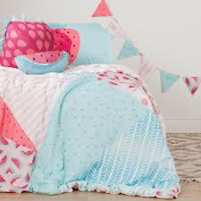 south s dreamit pink and turquoise watermelons and dots twin comforter set throw pillows and