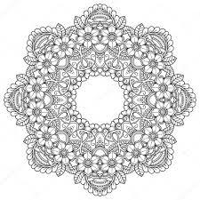 Henna Tetování Mandala V Mehndi Stylu Vzor Pro Omalovánky Ručně