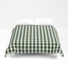dark forest green and white gingham check duvet cover by podartist society6