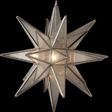 clear seedy glass lighted star w 26 points
