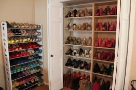 picture of simple hallway with shoe rack cabinet closet design high heels shoe shelves for