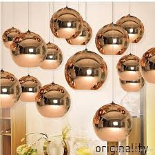tom dixon copper round mirror ball pendant lamp electroplating droplht led light chandelier lights indoor lamps lighting hotel living room glass light