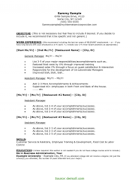 Sample Resume For Restaurant Manager Regular Example Resume For Restaurant Manager Babysitter Resumes 21