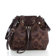 Coach Drawstring Medium Coffee Shoulder Bags FCB