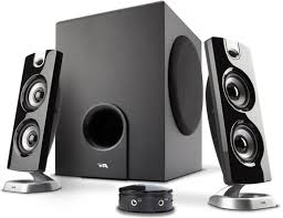 cool computer speakers. 3-piece speaker system that has a subwoofer and 2 satellite speakers. one of its cool features is the desktop control pod which designed to give you computer speakers t