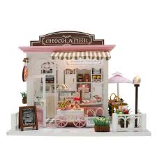 doll house kit diy miniature wooden handmade house cake kids craft toys banggood com