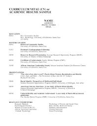 Cv And Resume Examples Curriculum Vitae Academic Academic Curriculum
