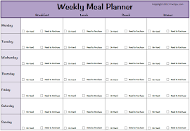 weekly menue planner weekly meal plan template