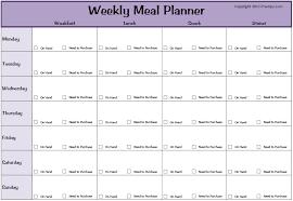 weekly menue planner weekly meal plan template