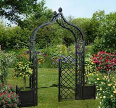 brighton garden arch with two planters