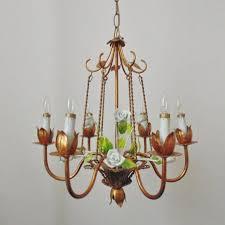 italian tole chandelier bird cage porcelain roses gilt metal vintage mid century modern italy birdcage