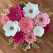 How To Make Paper Flower Backdrop Pre Made Rose Paper Flowers Wedding Party Backdrop Wall Wedding