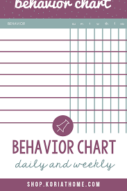 Weekly Behavior Chart For Home Behavior Chart Tracker Weekly And Daily