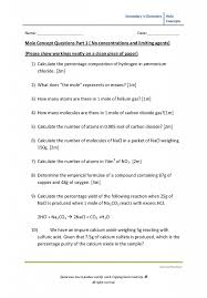 Secondary 3 Chemistry Worksheet (Mole Concept) – hannahtuition