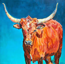 colorful contemporary animal art longhorn painting jasper by contemporary animal artist patricia a griffin