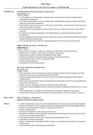Quality Assurance Director Resume Samples Velvet Jobs