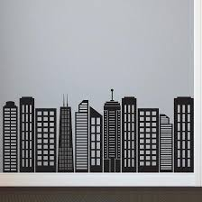 simple geometric city vintage wall decal city