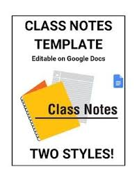 Class Notes For Students Template Editable In Google Docs Google