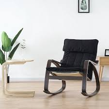 Comfortable <b>Relax</b> Wood Adult Rocking <b>Chair Armchair Black</b> ...