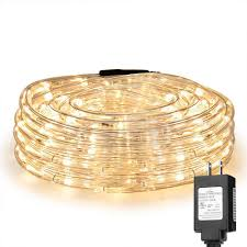 Le 33ft 240 Led Rope Light Waterproof Connectable Low Voltage Warm White Indoor Outdoor Clear Tube Light Rope And String For Deck Patio Pool