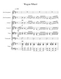 wagon wheel sheet music wagon wheel sheet music for alto saxophone violin viola cello