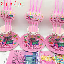 10personal 31pcslot First Birthday Party For Girls Simple Set Tray