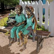 bronze garden statues. read to me, boy and girl on benchcast bronze garden statue statues l