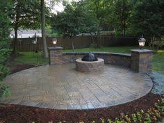 concrete patio with fire pit. Simple Pit Stamped Concrete Patio With Seating Walls And Fire Pit Mason Ohio Inside With