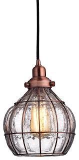 vintage bowl ed glass pendant light red antique copper