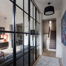 modern hallway with glass panelling