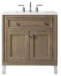 30 Chicago Single Bathroom Vanity White Washed Walnut